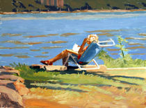 Reading by the River von Edwin Abreu