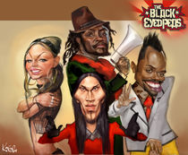 Black Eyed Peas group caricature by creartiv3
