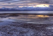 Sunset reflections on a winter beach by Michele Cornelius