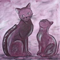 Katzen lila by Christine Bässler