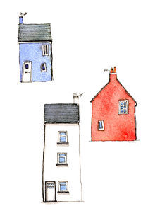 Devon Cottages Watercolor Painting by Nic Squirrell