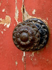 Door Knob on Red Door by Lainie Wrightson
