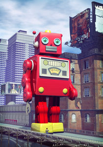 Tin toy robot in China by Luca Oleastri