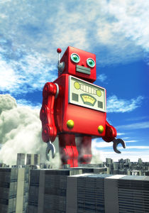 Tin toy robot in the city by Luca Oleastri