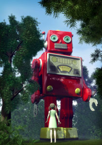 Tin toy robot in the garden by Luca Oleastri