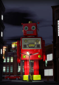 Tin toy robot in the ghetto by Luca Oleastri