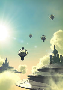 Steampunk flying city by Luca Oleastri