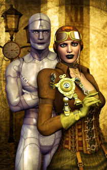 Steampunk-girl-and-robot