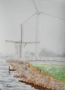 Foggy Windmill and Wind Turbine von Warren Thompson
