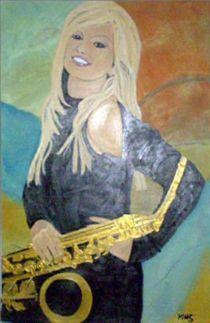 Blonde Woman with Sax by Mark Shearman