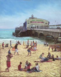 people on Bournemouth beach :Pier theatre by Martin  Davey