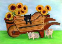 Sunflower Pigs 2 by Mark Shearman
