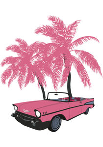 Car with pink palms by Mikhail Komarov