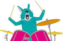 Rabbit with drums by Mikhail Komarov