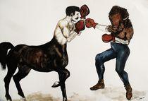 Centaur Boxing Buffalo or Bison by sam-wilkinson