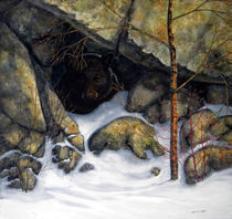 The Encounter Black Bear  by Frank Wilson