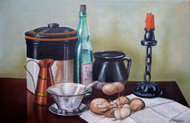 Still life With Onions and Eggs by Frank Wilson