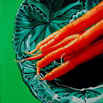 Carrots on Majolica by Melanie Cossey