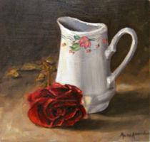 White jug with a rose von Muna Abdurrahman