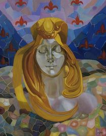 Born/after Mucha/30x24-oil on canvass by Antoaneta Hillman