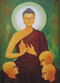 Lord Buddha and his first 3 disciples by Lalit Kumar Jain