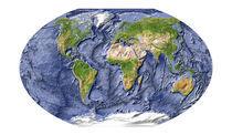Weltkarte mit Meeresbodenrelief von Michael Schmeling