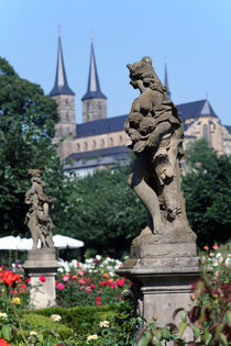 Rosegarden in Bamberg/view at Michaelsberg Abbey by Miroslava Andric