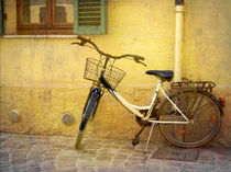 Bicycle on Yellow Wall by artskratches