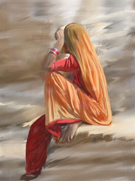 Rajastani-woman-painting