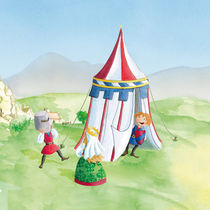 Ritterzelt mit spielenden Kindern by Gosia Kollek