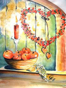 Hagebuttenherz mit Kerze und Schale von Christine  Hamm