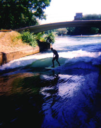 River Surfing Munich Germany by Kevin W.  Smith