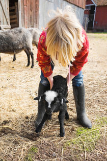 Young girl holding a newborn black lamb by kbhsphoto
