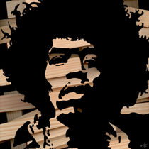 Jimi Hendrix WoodCut 3 von Marko Köppe