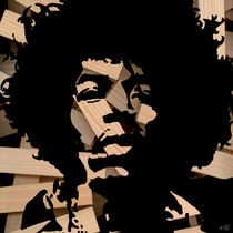 Jimi Hendrix WoodCut 2 von Marko Köppe