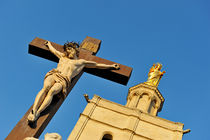 Virgin Statue and Jesus-Christ on Cross by Sami Sarkis Photography
