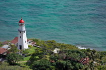 Lighthouse in garden on Pacific Ocean by Sami Sarkis Photography
