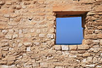Wall with window framing blue seascape von Sami Sarkis Photography