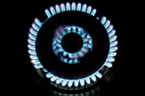 Lit blue double gas ring by Sami Sarkis Photography