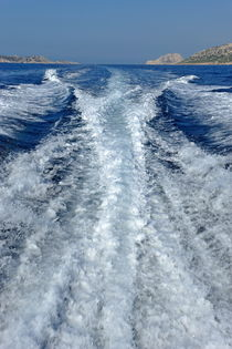 Boat wake and Maire Island by Sami Sarkis Photography