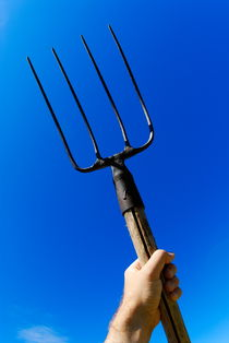 Man's hand holding up pitchfork against blue sky by Sami Sarkis Photography