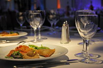 Food in plate and wineglass by Sami Sarkis Photography