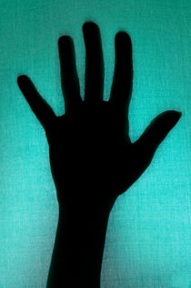 Silhouette of hand touching green texture von Sami Sarkis Photography