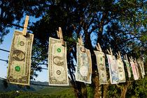 International money hanging on clothesline von Sami Sarkis Photography