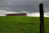 Barbed wires and haystack shelter in field von Sami Sarkis Photography