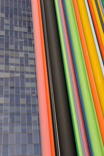 Skyscraper and multi coloured stripes by Sami Sarkis Photography