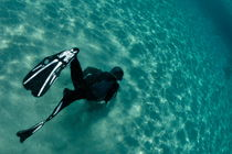 Snorkeller diving by Sami Sarkis Photography