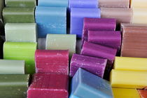 Stacks of colorful soaps in shop von Sami Sarkis Photography