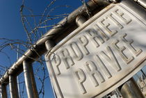 Private property french warning sign with barbed wires by Sami Sarkis Photography