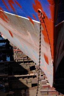 Ship's bow being repaint by Sami Sarkis Photography